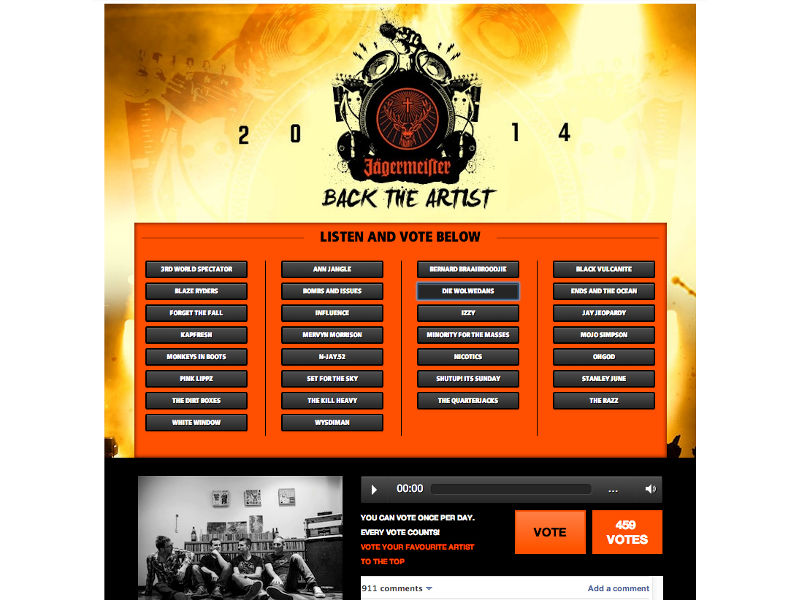 Back the Artist - WordPress, Facebook Competition